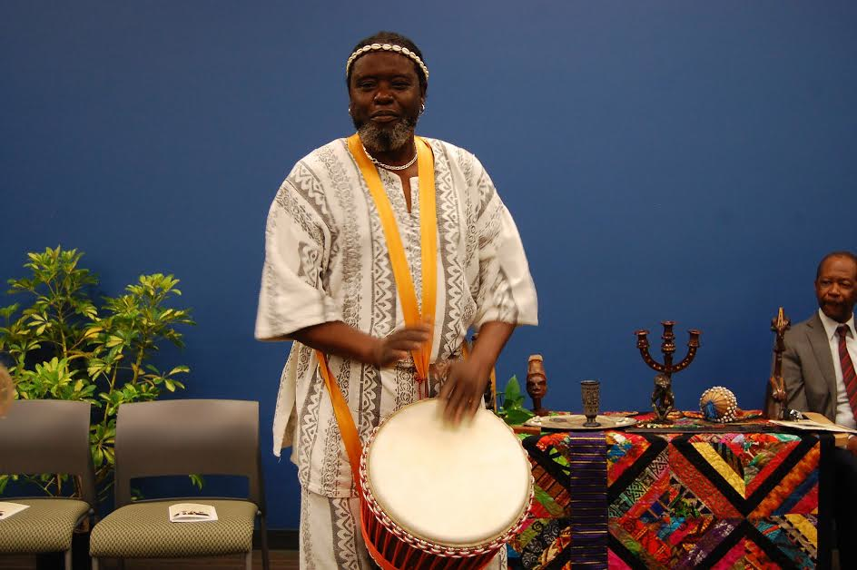 Baba Yiriba performing the opening drum call.