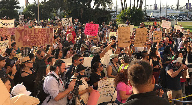 Hundreds gathered outside of the San Diego County Administration Building to support DACA.