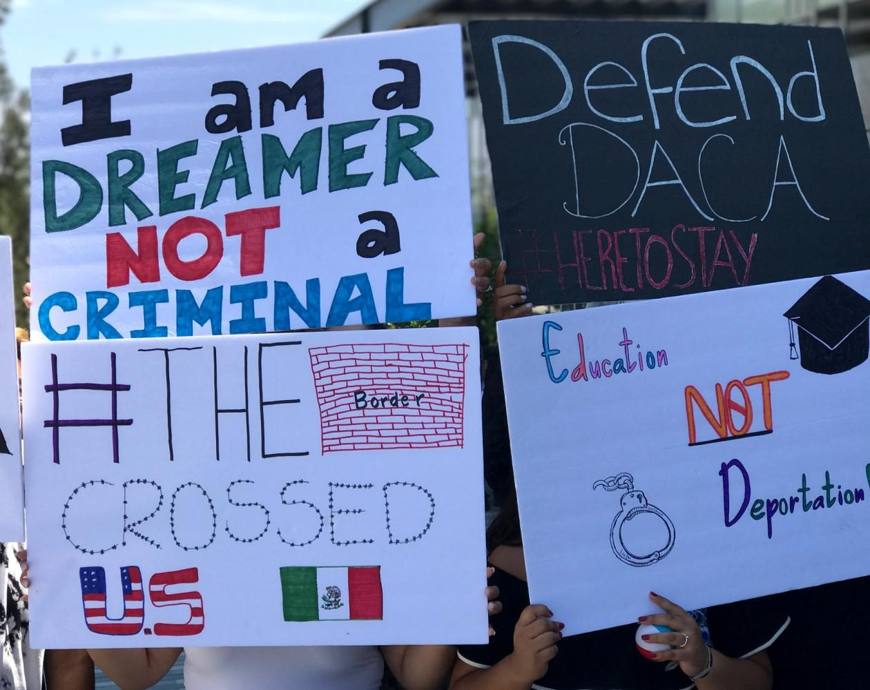 A smaller rally was held outside of the Mesa Commons the morning of the announcement.