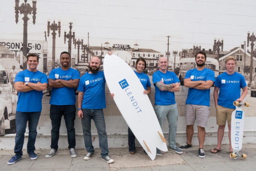 Team members from the San Diego-based company LendIt (from left) Andrew Adrian, Raynaldo Caver, Juan Ortiz-Romero, Rachel Bartlett, Dalyn Lipps, Marcus Butler and Alexander Weber