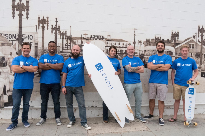 Team members from the San Diego-based company LendIt (from left) Andrew Adrian, Raynaldo Caver, Juan Ortiz-Romero, Rachel Bartlett, Dalyn Lipps, Marcus Butler and Alexander Weber