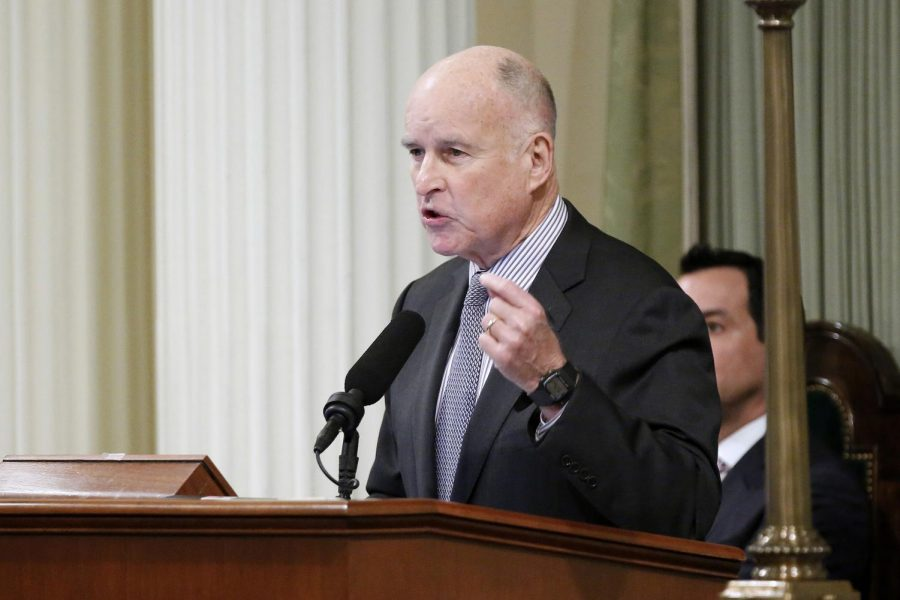California Gov. Jerry Brown delivers his 2017 State of the State speech in the State Assembly Chambers at the State Capitol building in Sacramento, Calif., on January 24, 2017. Photo Credit: MCT Campus.
