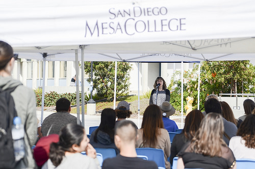 Psychology Professor Inna Kanevsky delivers her speech about free speech vs. hate speech during the teach-in. Photo Credit: Mesa Newsroom