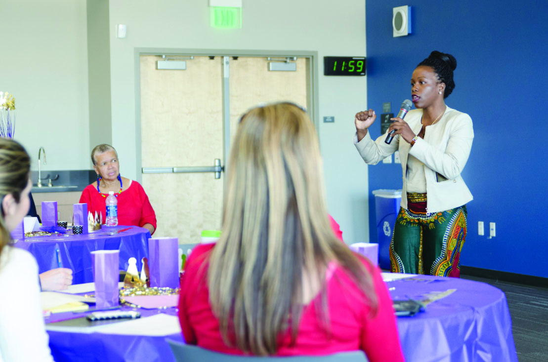 Sade Burrell gives women words of encouragement and mental wealth. Photo Credit: San Diego Mesa College Office of Communications
