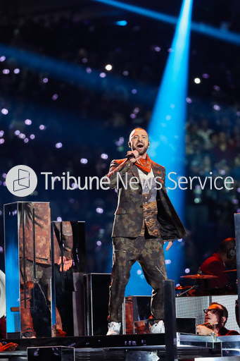 Justin Timberlake performing at Super Bowl LII.