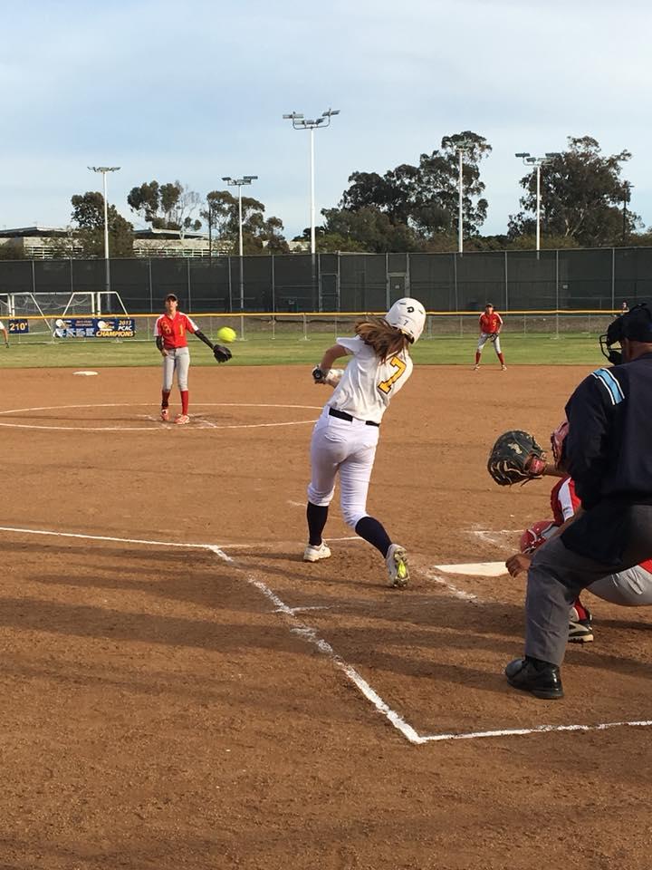 Freshman Cassie Gonzalez slamming one of her home runs. PC: Mesa Softball Facebook