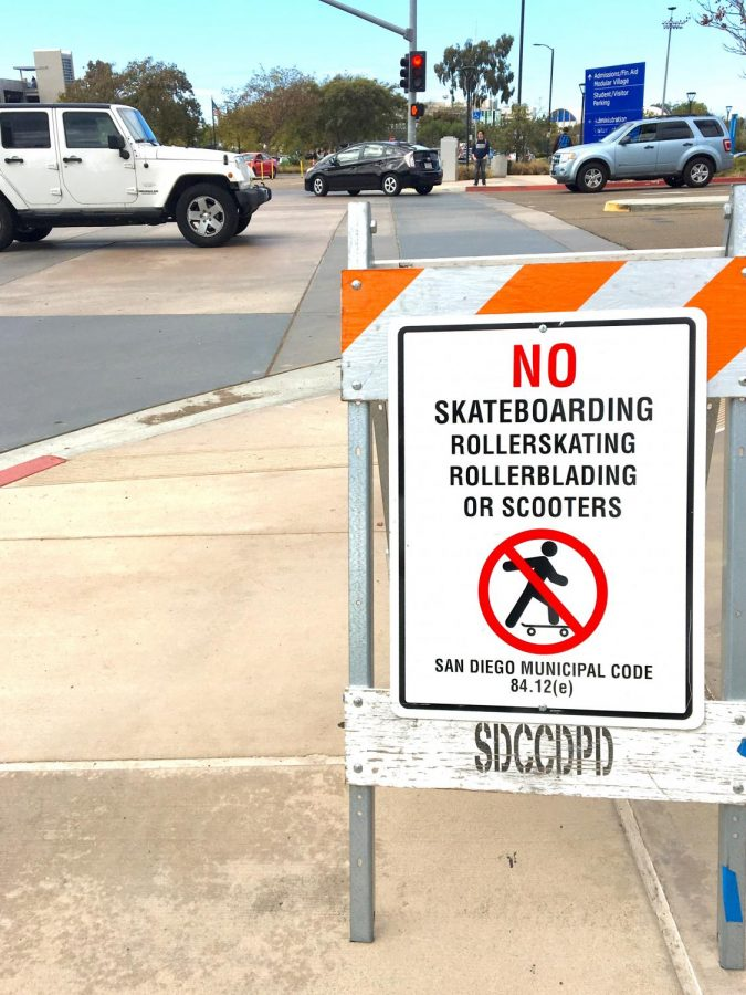 Signs+prohibiting+skateboarding+are+posted+at+campus+entrances.