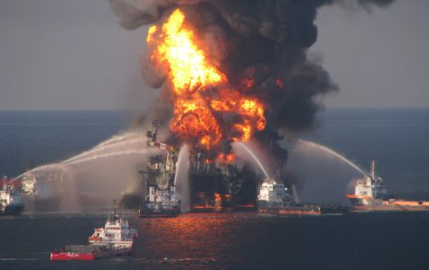 Fire boat response crews battle the blazing remnants of the off shore oil rig Deepwater Horizon April 21, 2010. (Petty Officer 3rd Class Tom Atkeson/U.S. Coast Guard/MCT)