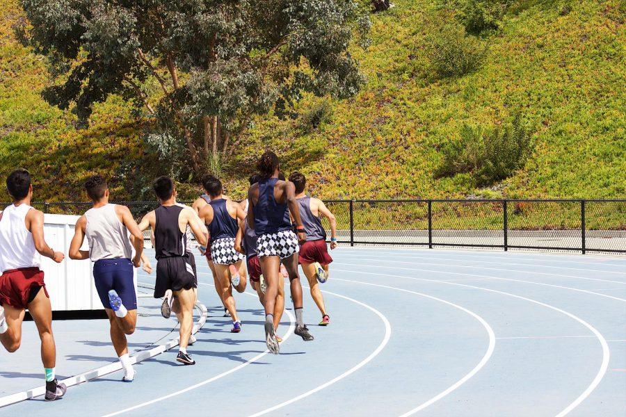 The start of the fastest heat of the men's 800m. Photo credit: Sufiyan Mansuri, Mesa Track & Field alumni