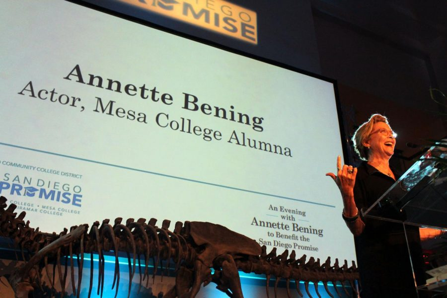 Annette Bening at the SDCCD Fundraising Gala September 20th, giving a speech on why the fundraiser is important to her.