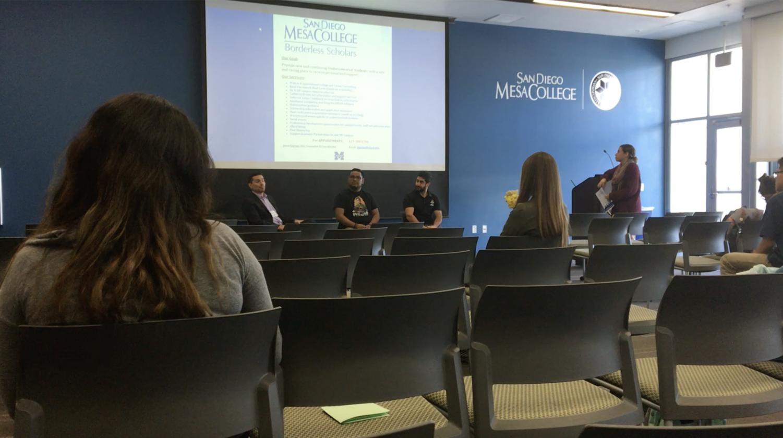 EOPS Counselor Jesus Gaytan, English Professor Jorge Villalobos, and Border Dreamers Board Director Alireza Torabi introduce themselves as DACA recipients.