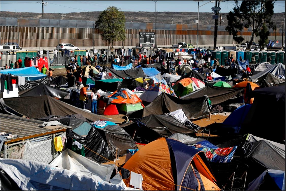 The Benito Juárez sports complex in TJ, migrant caravan