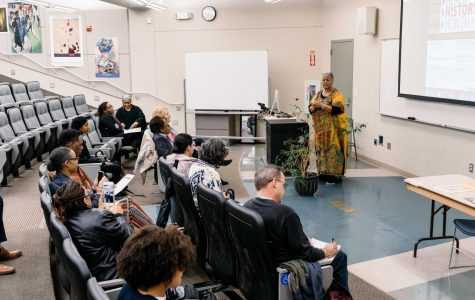 Thekima Mayasa, a Black Studies Professor, speaks to an engaged audience during a Black History Month event at Mesa College Photo Credits: sdmesa.edu