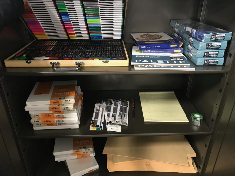 The new art supply lending library, located in FA105, is newly stocked and fully accessible to art history students.