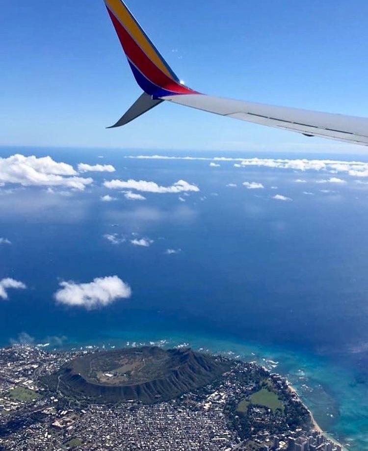 Southwest plane during test flight over Honolulu, Hawaii Photo Credit: @southwestair