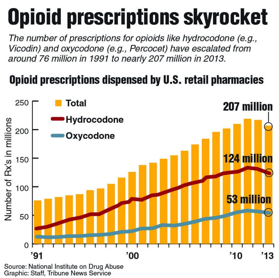 Graphic showing the rise in opioid prescriptions. Photo Credit: MCT Campus