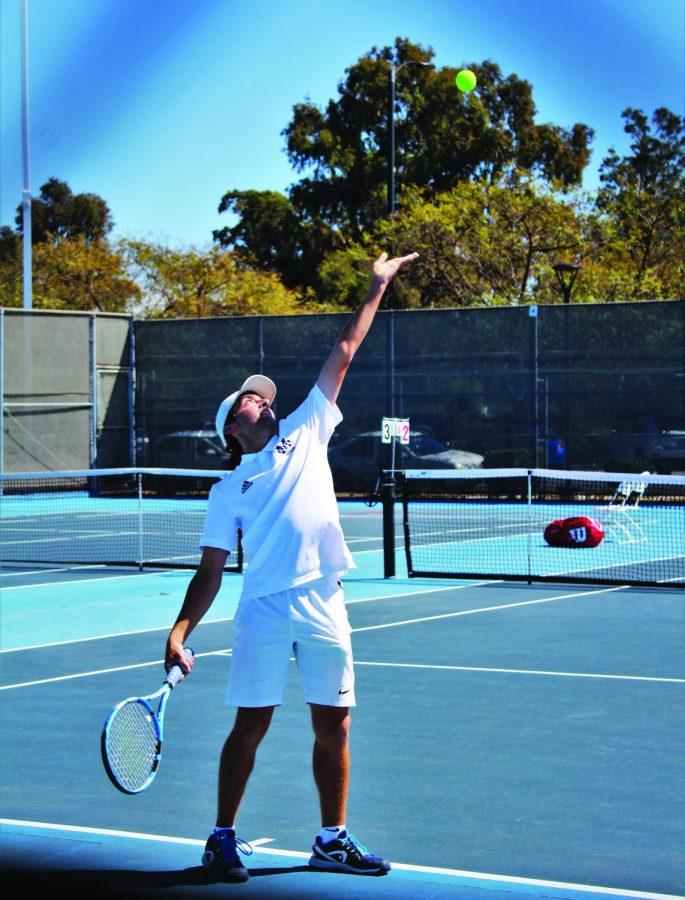 Saddleback College serves breadsticks to Mesa men's tennis
