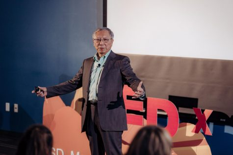"Albert Cruz giving his TEDx talk about ""Becoming Who You Want To Be""  Photo Credit: Eva Zapien"