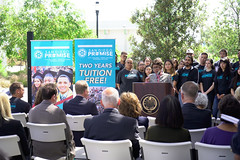 SDCCD Chancellor Dr. Constance Carroll announces the new two-year free tuition plan at a news conference.