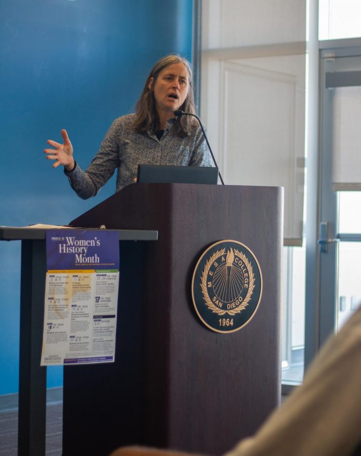 Panelist, Michelle Rodriguez, discusses women's role in politics today.
