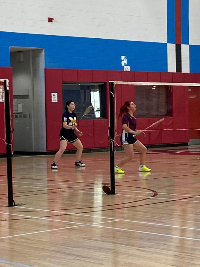 Trisna+Nguyen+and+Melony+Pina-Lopez+focus+in+during+their+doubles+game.+Photo+Credit%3A+Kyle+Mullin.