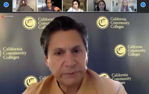 Photo Credit: Renee Schmiedeberg California Community Colleges Chancellor Eloy Ortiz Oakley responds to college students across California amid COVID-19 in a teleconference.