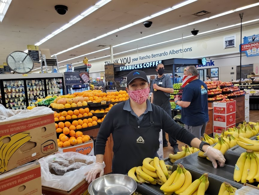 Many essential workers at Albertsons in Rancho Bernardo have been equipped with face masks from San Ngyuen's family.