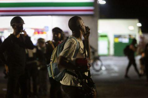 Demonstrators in Portland, OR protesting police brutality.