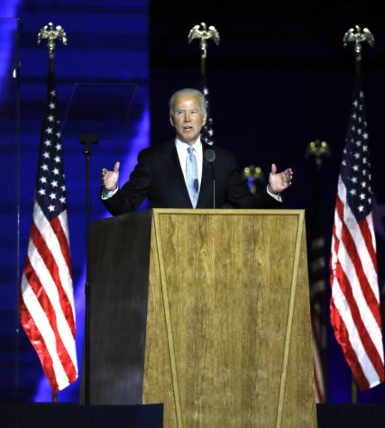 President-elect Joe Biden addresses supporters at Chase Center in Wilmington, DE, on Nov, 7, 2020 after being named winner.