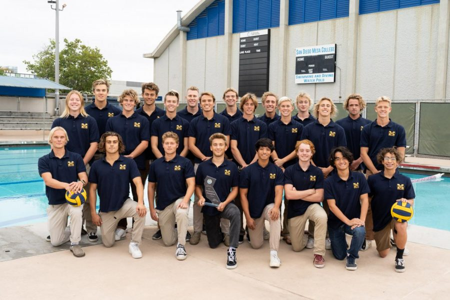 Mesa's Men's Water Polo together for a photo after winning the PCAC championship last year.