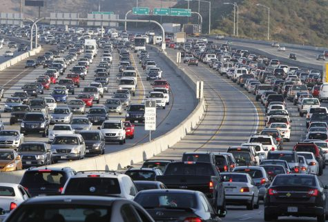 Hundreds of San Diego drivers make up the usual rush hour congestion at the junction of I-5 and freeway 805