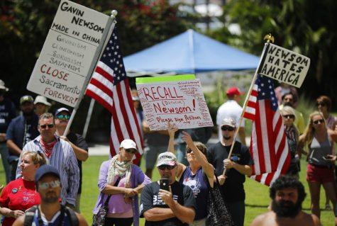 San Diegans in support of recalling Gov. Newsom say he hates America. (Credit: K.C. Alfred)