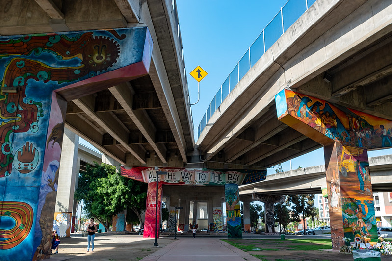 Murals decorate the overpass of the Coronado Bridge, creating the unique landscape that is Chicano Park
