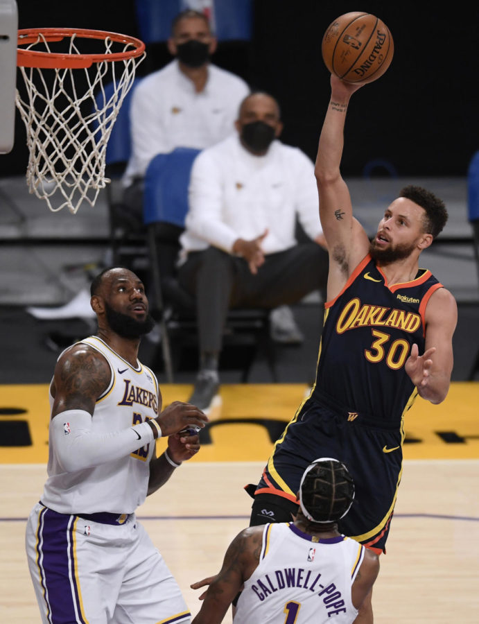 The+Golden+State+Warriors+will+play+the+Los+Angeles+Lakers+at+Staples+Center+in+Los+Angeles+on+May+19%2C+2021%2C+for+the+NBA%27s+inaugural+play-in+tournament.